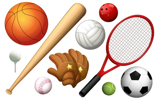 Different types of sport equipments illustration