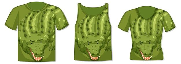 Diversi tipi di top con motivo coccodrillo