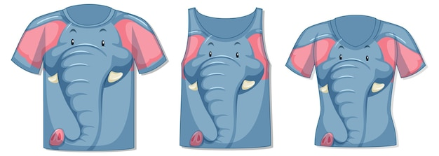 Different types of tops with elephant pattern