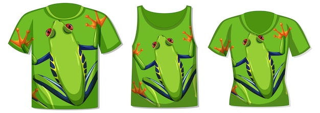 Different types of tops with green frog pattern