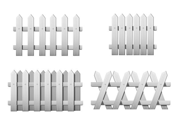 さまざまな種類の白い木製のフェンス。白で隔離される庭のフェンスのセット