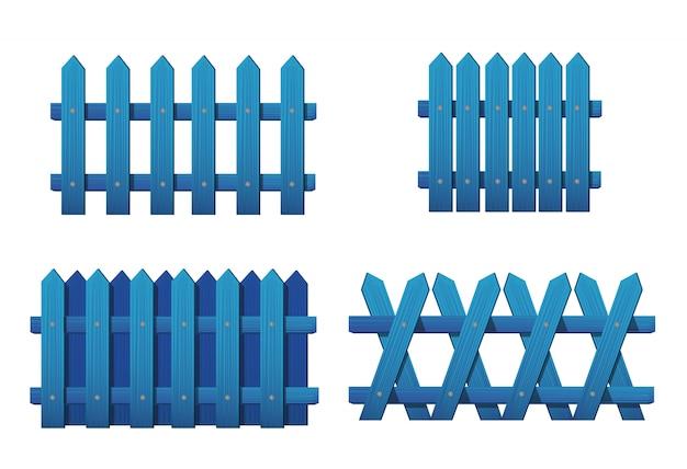 さまざまな種類の木製の青いフェンス。白で隔離される庭のフェンスのセット