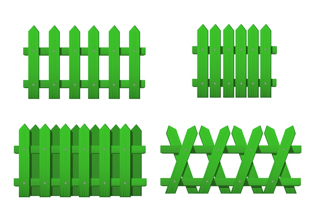 Different types wooden green fence. set of garden fences isolated on white