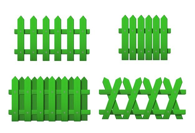 Деревянные зеленые заборы разных видов. набор садовых заборов, изолированные на белом фоне