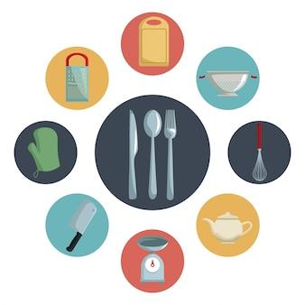 Различная посуда кухни внутри и столовые приборы в центре