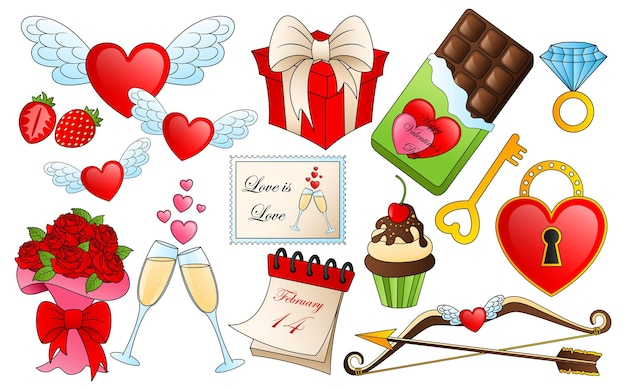 Different valentines day elements. cartoon love and passion icons,  stickers for valentine's day items design
