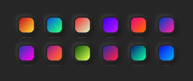 Различные варианты ярких градиентных схем для ui ux-дизайна
