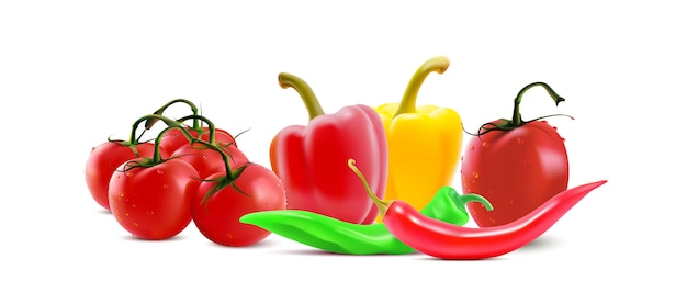 Different vegetables, chilly pepper and tomato.
