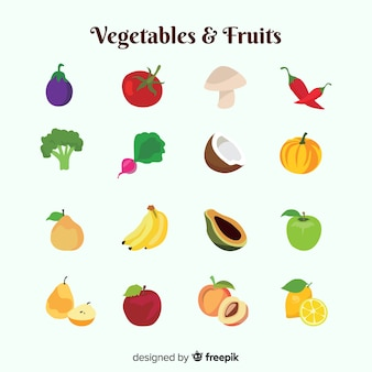 Different vegetables and fruits pack