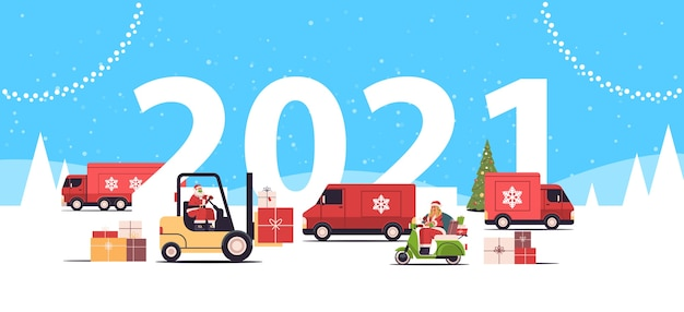 Different vehicles delivering gifts merry christmas 2021 new year holidays celebration delivery service concept greeting card landscape background horizontal vector illustration