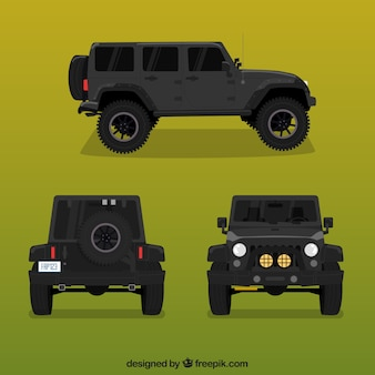 Different views of black offroad car