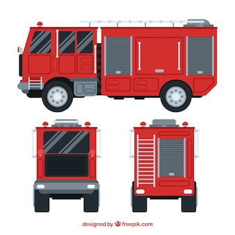 Different views of fire engine