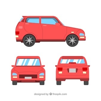 Different views of flat red car
