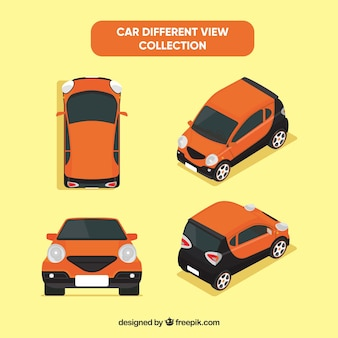 小さなオレンジ色の車のさまざまなビュー