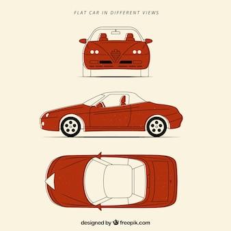 Different views of orange car