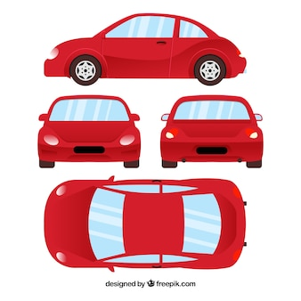 Different views of red car