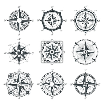 Different vintage compasses set