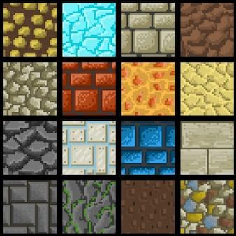 Коллекция из шестнадцати бесшовных векторных пикселей текстуры земли