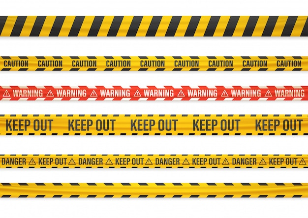 Different warning tapes isolated on white