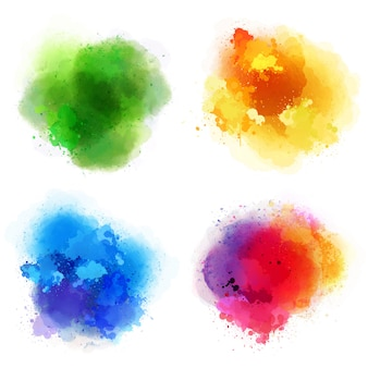 Different watercolor splashes