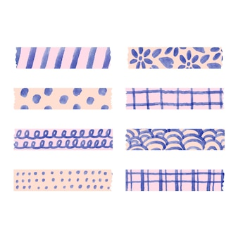Different watercolor washi tapes pack