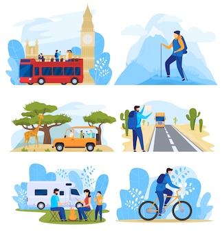 旅行のさまざまな方法、アクティブな休暇中の人々、イラストのセット