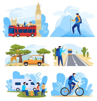 Different ways of traveling, people on active vacation, set of illustrations