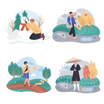 Набор концептуальных сцен различных погодных условий