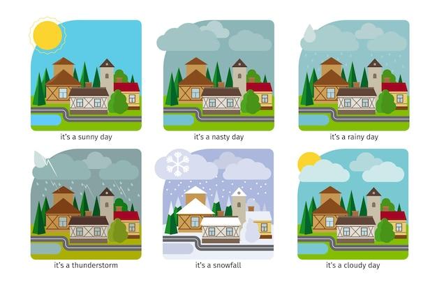 마을의 날씨가 다릅니다. 태양 비와 뇌우. 삽화.