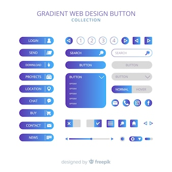Different web buttons in gradient style