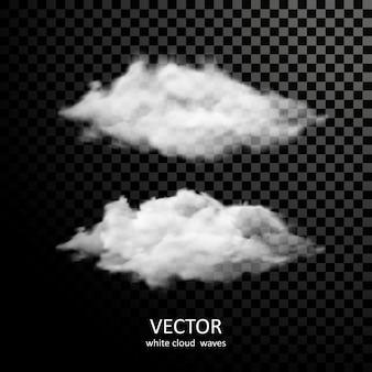透明な背景に異なる白い雲のコレクション