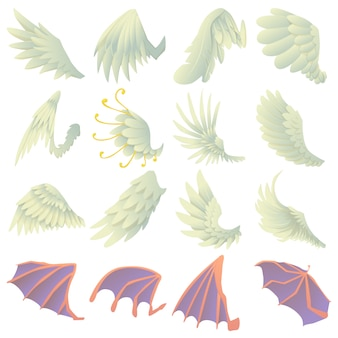Different wings icons set
