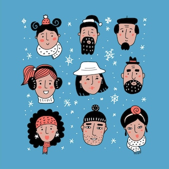 Different winter faces collection girl boy man woman in knitted hats funny cartoon doodle people han...