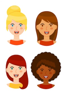 Different women avatars collection isolated on white background.