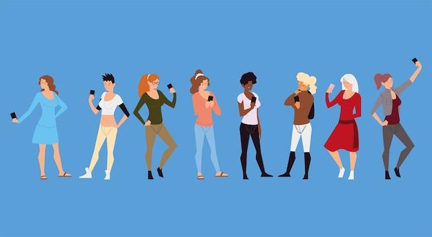 스마트 폰 장치 그림을 사용하여 다른 여성 그룹