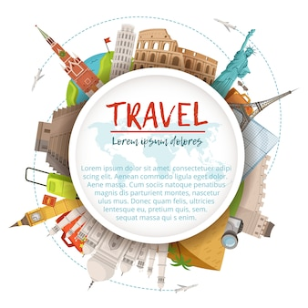 Different world landmarks in circle shape. design template with place for your text