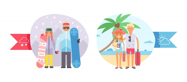 Different world weather, cold, hot temperature, character couple people, snowboard, winter sport and tropical vacation, illustration.