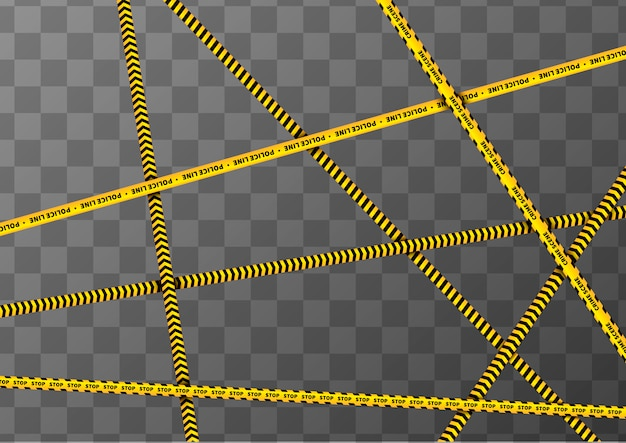 Different yellow and black caution tapes on transparent a4 background