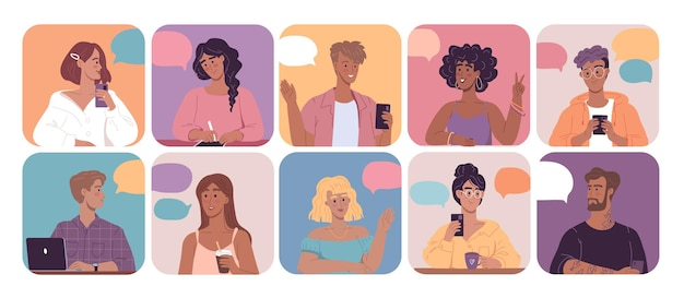 Different young people cartoon avatars for social media