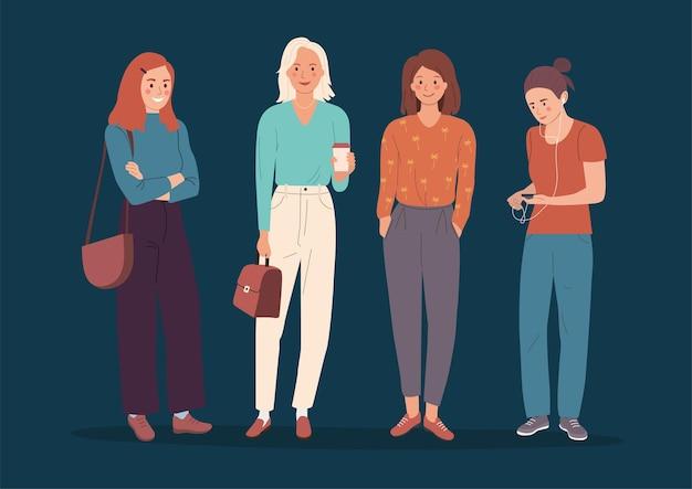 Различные молодые женщины стоя изолированы. плоский мультяшный стиль иллюстрации