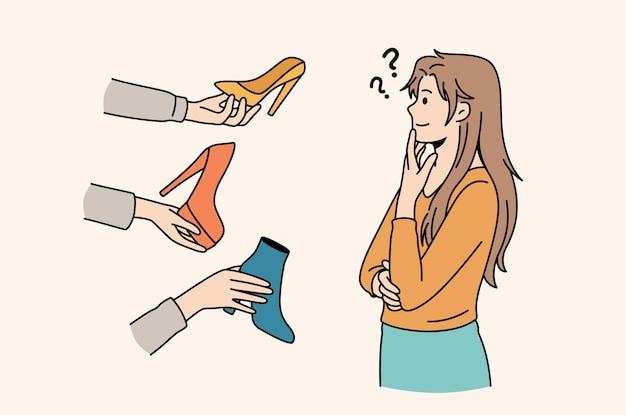Сложный выбор и концепция разнообразия. молодая разочарованная женщина мультипликационный персонаж стоя пытается выбрать красочную обувь векторная иллюстрация