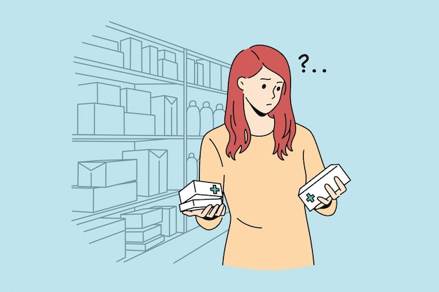 Difficult choice in pharmacy concept. young frustrated woman cartoon character standing trying to choose right medicine in pharmacy shop vector illustration