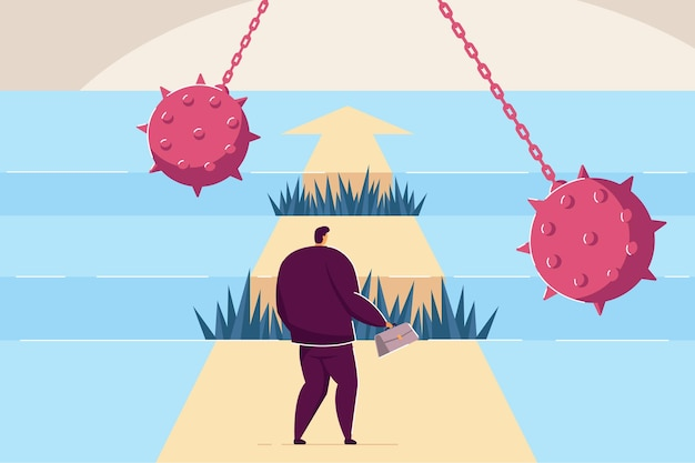 Difficult path of businessman to success, full of obstacles. flat vector illustration. brave guy going on career track, making efforts, overcoming adversity. business, ambition, competition concept