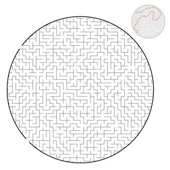 Difficult round labyrinth worksheet for kids