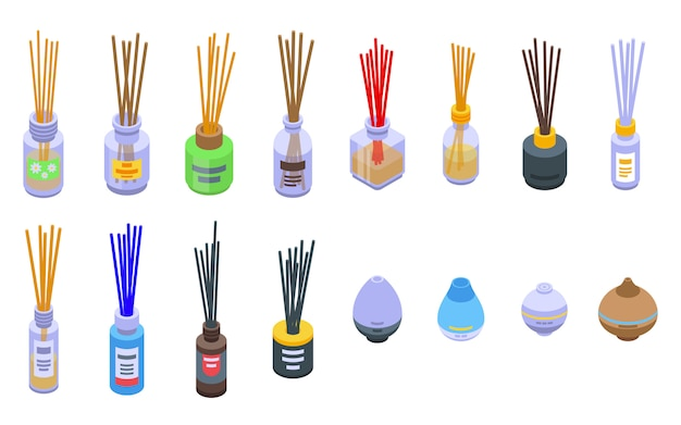 Diffuser icons set, isometric style
