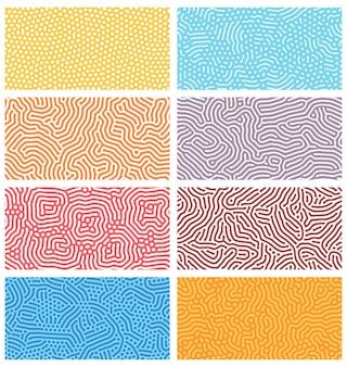 拡散シームレスパターン。抽象的な点描、点と線でモダンなバイオオーガニックチューリングデザイン。幾何学的な装飾ベクトルテクスチャセット。丸みを帯びたカラフルなライン。自然細胞の構造、迷路