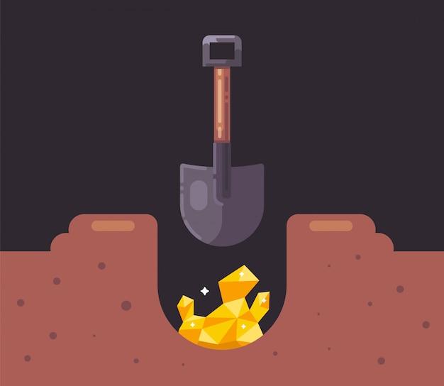 삽으로 구멍을 파고 금을 찾으십시오. 지구에서 보물 찾기. 평면 그림.