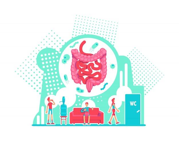 소화 시스템 건강 관리 평면 개념 벡터 일러스트입니다. 대장의 해부학. 질병 예방. 건강한 라이프 스타일 2d 만화 캐릭터