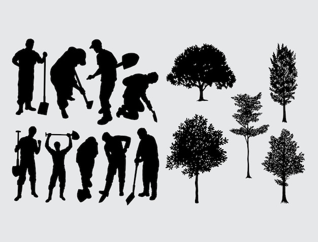 Digger worker and tree silhouette