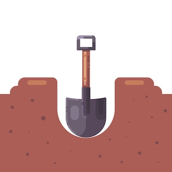 Digging a hole in the ground with a shovel